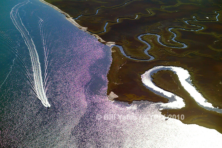 Inter Coastal Waterway, west bank, power boat, Amelia Island, Florida, helicopter, aerial