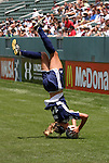 "27 June 2004: Kim Pickup demonstrates her ""Pick-Flip"" flip throw-in during the game. The San Diego Spirit defeated the Carolina Courage 2-1 at the Home Depot Center in Carson, CA in Womens United Soccer Association soccer game featuring guest players from other teams."