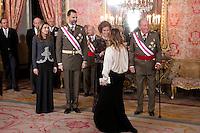 MADRI, ESPANHA, 06 JANEIRO 2013 - PARADA MILITAR ANO NOVO - (E/D) A princesa Letizia o Principe Felipe, a Rainha Sophia e o Rei Juan Carlos durante Parada Militar do Ano Novo no Palacio Real de Madri capital da Espanha, neste domingo, 06/01/2013. (FOTO: MIGUEL CORDOBA / ALFAQUI / BRAZIL PHOTO PRESS).