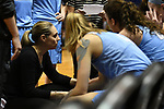 GRAND RAPIDS, MI - MARCH 18: Head coach Carla Berube of Tufts University speaks with players during a timeout at the Division III Women's Basketball Championship held at Van Noord Arena on March 18, 2017 in Grand Rapids, Michigan. Amherst defeated 52-29 for the national title. (Photo by Brady Kenniston/NCAA Photos via Getty Images)