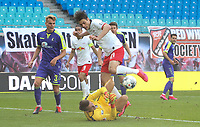 16th May 2020, Red Bull Arena, Leipzig, Germany; Bundesliga football, Leipzig versus FC Freiburg;  Goalkeeper Alexander Schwolow SCF collides with Patrik Schick RBL