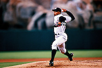 Orlando Hernandez of the New York Yankees plays in a baseball game at Edison International Field during the 1998 season in Anaheim, California. (Larry Goren/Four Seam Images)