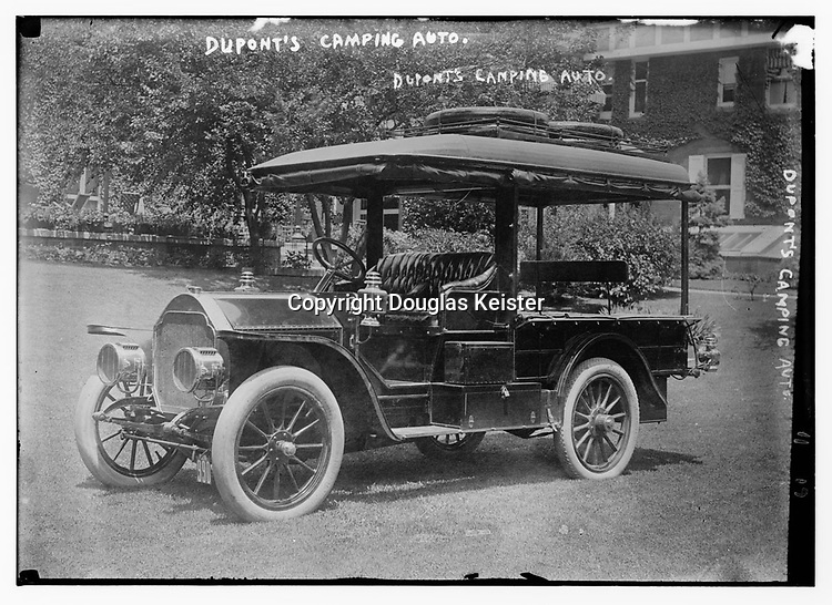 Most early camp cars were playthings of the wealthy. T. Coleman du Pont, president of E. I. Du Pont de Nemours and Company, funded a paved highway in Delaware, which later became U.S. 13. Around 1911, he commissioned a camping vehicle so he could inspect the roadwork. His camping car had a Stoddard-Dayton chassis fitted with a delivery truck body, which was modified for camping. The car included a hair-stuffed mattress (most were stuffed with horse hair), cook stove, ice box, roll-down curtains, and storage spaces for utensils and supplies. When extra sleeping room was needed, twin silk tents could be attached to the vehicle's sides. Courtesy Library of Congress.