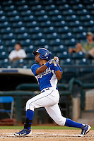 Alfredo Patino #18 of the AZL Royals bats against the AZL Rangers at Surprise Stadium on July 15, 2013 in Surprise, Arizona. AZL Rangers defeated the AZL Royals, 3-2. (Larry Goren/Four Seam Images)