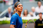 Caja Magica. Madrid. Spain. 07.05.2014. Tennis match between Rafael Nadal and Juan Monaco in the Madrid Open tournament.