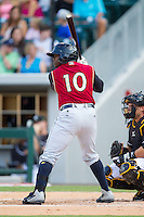 Adonis Garcia (10) of the Scranton/Wilkes-Barre RailRiders at bat against the Charlotte Knights at BB&T Ballpark on July 17, 2014 in Charlotte, North Carolina.  The Knights defeated the RailRiders 9-5.  (Brian Westerholt/Four Seam Images)