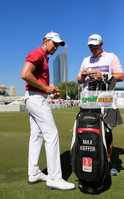Maximilian KIEFFER (GER) on the practice green during Pink Friday's Round 2 of the 2015 Omega Dubai Desert Classic held at the Emirates Golf Club, Dubai, UAE.: Picture Eoin Clarke, www.golffile.ie: 1/30/2015