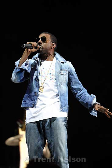 Kanye West performs at the Delta Center.<br />