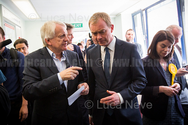 (From L to R) Kelvin Cheatle (Kingston Hospital's Director of Workforce),<br /> Tim Farron (Leader of the Liberal Democrats) &amp; Ann Radmore (Kingston Hospital's Chief Executive).<br /> <br /> Norbiton (England), 01/06/2017. Today, Tim Farron (Leader of the Liberal Democrats), Nick Clegg (Liberal Democrats politician and Former British Deputy Prime Minister of the Coalition Government 2010-2015 - Conservative Party and Liberal Democrats), Sarah Olney (Former Liberal Democrats Member of Parliament for Richmond Park, she will contest the same seat in the 2017 general election) and Ed Davey (Liberal Democrat politician, former Member of Parliament for Kingston and Surbiton from 1997 to 2015; Former Secretary of State for Energy and Climate Change from 2012 to 2015 in the Conservative-Liberal Democrat coalition Government) visited Kingston Hospital to meet and discuss with representatives of the EU national staff of the hospital which created the &quot;Brexit Support Group&quot;. The discussion was followed by a rally at the Shiraz Mirza Community Hall with members and supporters of the Liberal Democrats. <br /> <br /> For more information please click here: http://www.libdems.org.uk/manifesto<br /> <br /> For more information about the Hospital please click here: https://www.kingstonhospital.nhs.uk/
