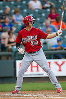 Memphis Redbirds outfielder Stephen Piscotty #33 at bat during the Pacific Coast League baseball game against the Round Rock Express on April 24, 2014 at the Dell Diamond in Round Rock, Texas. The Express defeated the Redbirds 6-2. (Andrew Woolley/Four Seam Images)