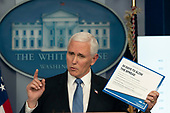 March 31, 2020 - Washington, DC, United States: United States Vice President Mike Pence participates in a news briefing by members of the Coronavirus Task Force at the White House.<br /> Credit: Chris Kleponis / Pool via CNP