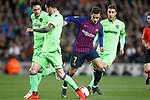 FC Barcelona's Philippe Coutinho (c) and Levante UD's Vukcevic (l) and Rochina during La Liga match. April 27,2019. (ALTERPHOTOS/Acero)