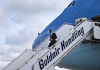 Pictured: US President Barack Obama descends the steps of Air Force One upon his arrival at the Eleftherios Venizelos Airport in Athens, Greece. Tuesday 15 November 2016<br /> Re: US President Barack Obama state visit to Greece