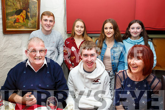 Niall Meehan of Abbeydorney heading to New York next week, enjoying a meal with his family in Cassidys Restaurant on Saturday night last, seated l-r, Tom, Niall and Angela Meehan. Standing l-r, Emmet Meehan, Amber Flood, Kelly Meehan and Maeve Godley.