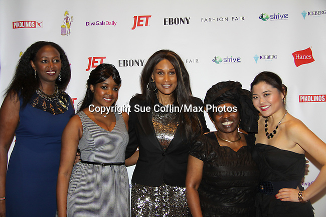 Siamanda Chege, Kimmie Smith, Beverly Johnson, Alexandreena Dixon and   at Color of Beauty Awards honoring supermodel Beverly Johnson on February 4, 2014 at Holy Apostles, New York City, New York. (Photo by Sue Coflin/Max Photos)