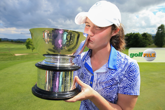 She played her part; Leona Maguire kissing the 2016 Curtis Cup, played at Dun Laoghaire GC, Enniskerry, Co Wicklow, Ireland. 12/06/2016. Picture: David Lloyd | Golffile. <br /> <br /> All photo usage must display a mandatory copyright credit to &copy; Golffile | David Lloyd.
