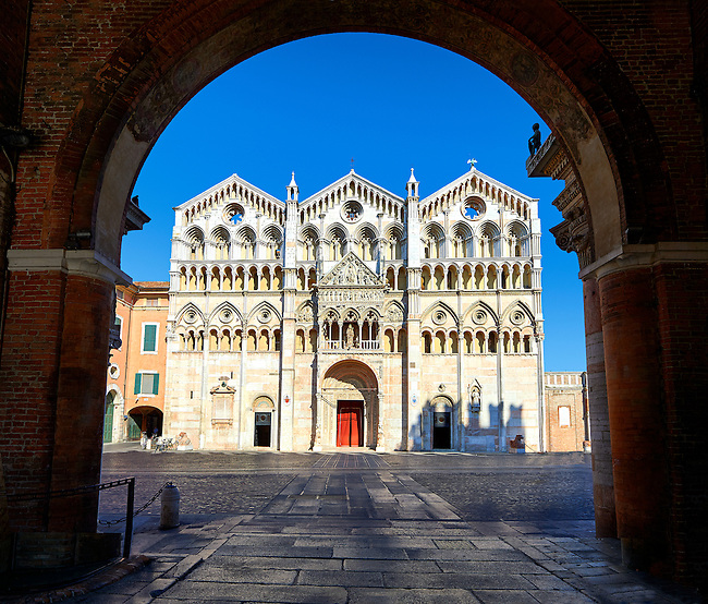 Facade of the 12th century Romanesque Ferrara Duomo, Italy