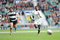 Christian Wade of England chases a chip ahead as Adam Jones of Barbarians vainly attempts to keep up during the match between England and Barbarians at Twickenham Stadium on Sunday 31st May 2015 (Photo by Rob Munro)