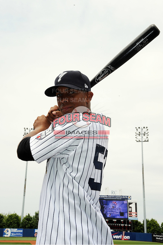 Staten Island Yankees outfielder Isiah Brown (57) during first team workout at Richmond County Bank Ballpark at St. George in Staten Island, NY June 15, 2010.  Photo By Tomasso DeRosa/ Four Seam Images