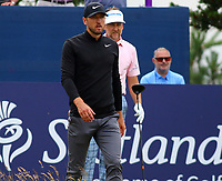 Harry Kanen spurs and england playing with ian poulter  during the preview of the Aberdeen Standard Investments Scottish Open, Renaissance Club, North Berwick, East Lothian, Scotland. 10/07/2019.<br /> Picture Kevin McGlynn / Golffile.ie<br /> <br /> All photo usage must carry mandatory copyright credit (© Golffile | Kevin McGlynn)
