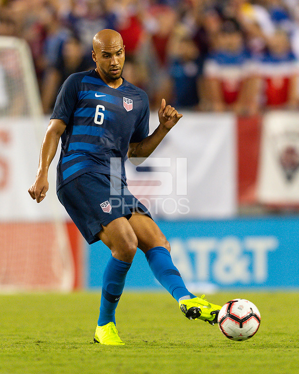 Tampa, FL - Thursday, October 11, 2018: John Brooks during a USMNT match against Colombia.  Colombia defeated the USMNT 4-2.