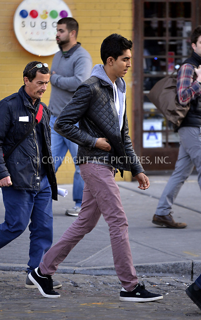 WWW.ACEPIXS.COM....April 25 2013, New York City....Actor Dev Patel on the set of the TV Series 'The Newsroom' on April 25 2013 in New York City........By Line: Curtis Means/ACE Pictures......ACE Pictures, Inc...tel: 646 769 0430..Email: info@acepixs.com..www.acepixs.com