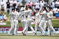 25th November 2019; Mt Maunganui, New Zealand;  Tom Latham celebrates with Colin de Grandhomme and team mates after taking a catch to dismiss Root International test match day 5 of 1st test, New Zealand versus England;  at Bay Oval, Mt Maunganui, New Zealand.