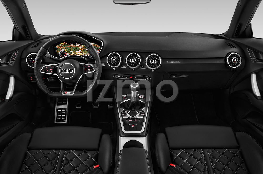 Stock photo of straight dashboard view of 2015 Audi TT Coupe S Line 3 Door Coupe Dashboard