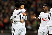 6th December 2017, Wembley Stadium, London England; UEFA Champions League football, Tottenham Hotspur versus Apoel Nicosia; Son Heung-Min of Tottenham Hotspur celebrates with Georges-Kevin Nkoudou after he scores making it 2-0