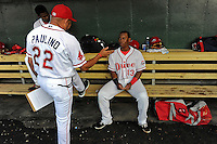 Hitting coach Nelson Paulino (22) of the Greenville Drive talks with third baseman Rafael Devers (13) in a game against the Lexington Legends on Tuesday, May 19, 2015, at Fluor Field at the West End in Greenville, South Carolina. (Tom Priddy/Four Seam Images)