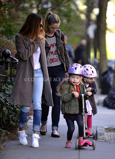 WWW.ACEPIXS.COM....April 25 2013, New York City....Actress Sarah Jessica Parker takes twins Marion and Tabitha to school on April 25 2013 in New York City......By Line: Curtis Means/ACE Pictures......ACE Pictures, Inc...tel: 646 769 0430..Email: info@acepixs.com..www.acepixs.com