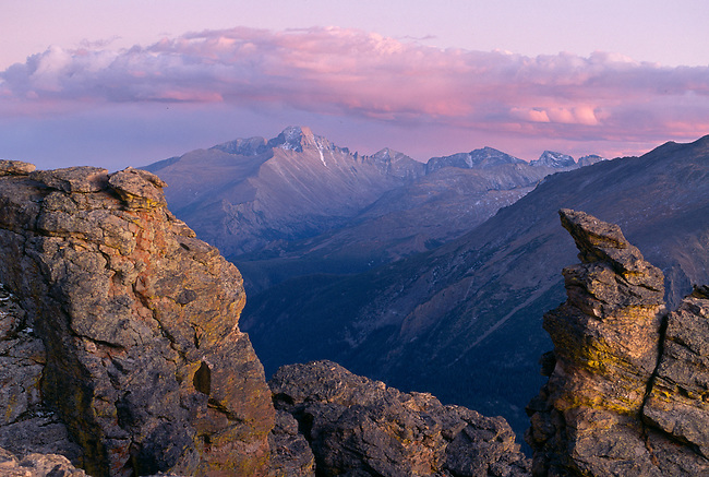 Sunset light frames Longs Peak from Rock Cut, Rocky Mtn Nat'l Park, CO