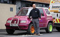 Pictured: Leigh Evans with his Suzuki Samurai at the Landore Training Ground. Saturday 10 May 2014<br />