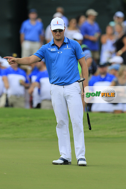 Zach Johnson (USA) takes his putt on the 18th green during Saturday's Round 3 of the 2017 PGA Championship held at Quail Hollow Golf Club, Charlotte, North Carolina, USA. 12th August 2017.<br /> Picture: Eoin Clarke | Golffile<br /> <br /> <br /> All photos usage must carry mandatory copyright credit (&copy; Golffile | Eoin Clarke)
