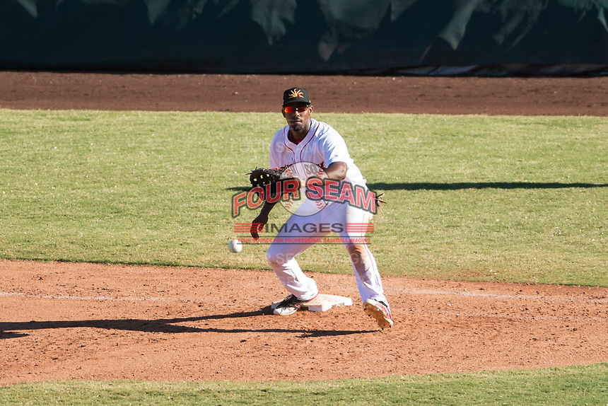 Mesa Solar Sox first baseman Josh Ockimey (28), of the Boston Red Sox organization, waits to receive a throw during an Arizona Fall League game against the Glendale Desert Dogs at Sloan Park on October 27, 2018 in Mesa, Arizona. Glendale defeated Mesa 7-6. (Zachary Lucy/Four Seam Images)