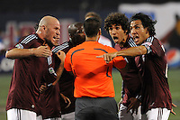 Colorado Rapids players including Conor Casey (9), Mehdi Ballouchy (8) and Pablo Mastroeni (25) yell at referee Ricardo Salazar.`` The Colorado Rapids defeated the New York Red Bulls 3-2 during a Major League Soccer match at Giants Stadium in East Rutherford, NJ, on May 30, 2009.