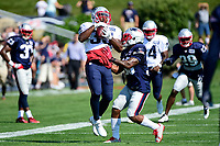 August 1, 2017: New England Patriots running back Dion Lewis (33) (white) catches a ball while be covered by defensive back Will Likely (33) (blue) at the New England Patriots training camp held at Gillette Stadium, in Foxborough, Massachusetts. Eric Canha/CSM