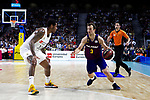 Real Madrid's Trey Thompkins and Barcelona's Kevin Pangos during Liga Endesa match between Real Madrid and FC Barcelona Lassa at Wizink Center in Madrid, Spain. March 24, 2019.  (ALTERPHOTOS/Alconada)