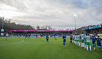 The Players join the field after handshakes during the Sky Bet League 2 match between Wycombe Wanderers and Yeovil Town at Adams Park, High Wycombe, England on 14 January 2017. Photo by Andy Rowland / PRiME Media Images.