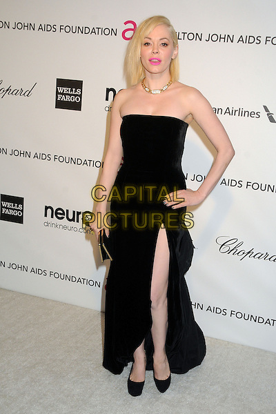 Rose McGowan.21st Annual Elton John Academy Awards Viewing Party held at West Hollywood Park, West Hollywood, California, USA..February 24th, 2013.oscars full length black strapless dress slit split clutch bag hand on hip.CAP/ADM/BP.©Byron Purvis/AdMedia/Capital Pictures.