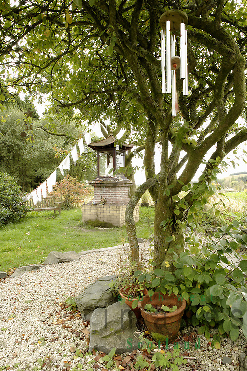 Samye Ling Monastry and Tibetan Centre Eskdalemuir near Langolm Dumfries and Galloway Scotland buddhist shrine in Stupa Garden
