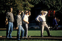 Italian immigrants playing Bocce Ball in a park in the Little Italy district near Commercial Drive, Vancouver, British Columbia, Canada