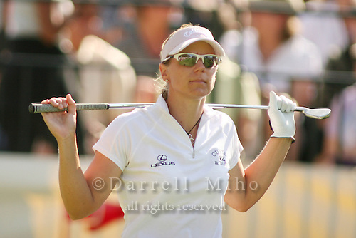 Apr. 1, 2006; Rancho Mirage, CA, USA; Annika Sorenstam walks off the tee box after her tee shot on the par 3, 17th hole rolled off the front of the green at the Kraft Nabisco Championships at Mission Hills Country Club. ..Mandatory Photo Credit: Darrell Miho.Copyright © 2006 Darrell Miho .