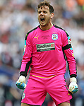 Huddersfield's Danny Ward celebrates his penalty save during the Championship Play-Off Final match at Wembley Stadium, London. Picture date: May 29th, 2017. Pic credit should read: David Klein/Sportimage