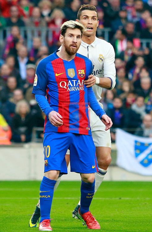 League Santander 2016/2017. Game: 14.<br /> FC Barcelona vs Real Madrid: 1-1.<br /> Lionel Messi &amp; Cristiano Ronaldo.