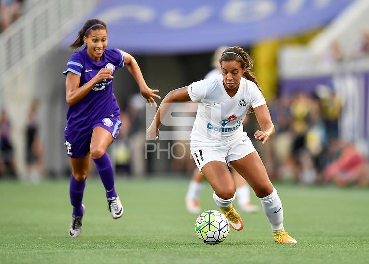 Orlando, FL - Saturday Sept. 24, 2016: Kristen Edmonds, Frances Silva during a regular season National Women's Soccer League (NWSL) match between the Orlando Pride and FC Kansas City at Camping World Stadium.