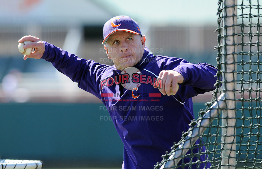 Head coach Jack Leggett (7) of the Clemson Tigers prior to a game against the Wright State Raiders Saturday, Feb. 27, 2011, at Doug Kingsmore Stadium in Clemson, S.C. Photo by: Tom Priddy/Four Seam Images