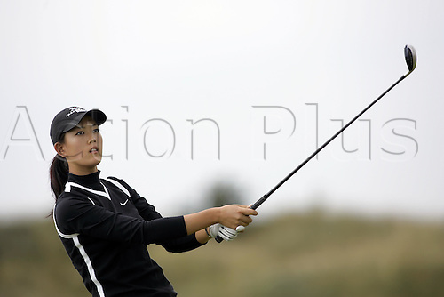 30 July 2005: American golfer Michelle Wie (USA) looks into the distance after playing from the 9th tee during the Weetabix Women's British Open Championship played at Royal Birkdale. Photo: Glyn Kirk/Actionplus....050730 female woman