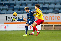 8th February 2020; Dens Park, Dundee, Scotland; Scottish Championship Football, Dundee versus Partick Thistle; Declan McDaid of Dundee and Dario Zanatta of Partick Thistle