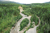 Riley Creek marks the entrance to Denali National Park. The Alaska Railroad's Denali Star train runs between Anchorage and Fairbanks, with Denali one of the stops along the way.